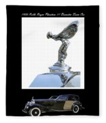 1930 Rolls Royce Mascot And Car Fleece Blanket