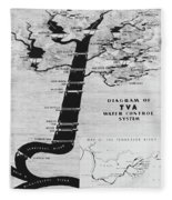 1933 Tennessee Valley Authority Map Fleece Blanket