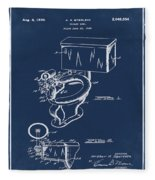 1936 Toilet Bowl Patent Blue Fleece Blanket