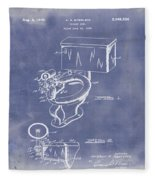 1936 Toilet Bowl Patent Blue Grunge Fleece Blanket