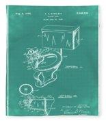 1936 Toilet Bowl Patent Green Fleece Blanket