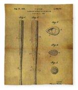 1939 Baseball Bat Patent Fleece Blanket