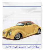 1939 Ford Custom Street-rod Convert Fleece Blanket