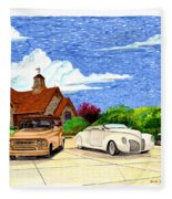1939 Lincoln Zephyr  Family Home Fleece Blanket