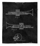 1940 Trumpet Patent Illustration Fleece Blanket
