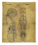 1942 Chopper Motorcycle Patent Fleece Blanket