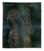 1942 Grunge Chopper Motorcycle Patent Fleece Blanket