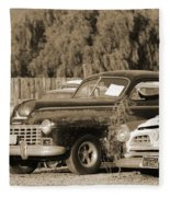 1946 Dodge In Sepia Fleece Blanket