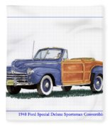 1948 Ford Sportsman Convertible Fleece Blanket