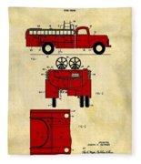 1950 Red Firetruck Patent Fleece Blanket