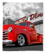 1952 Chevrolet Truck At The Diner Fleece Blanket