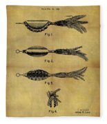 1952 Fish Lure Patent Fleece Blanket