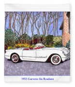 1955 Corvette Six Roadster Fleece Blanket