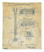 1955 Mccarty Gibson Les Paul Guitar Patent Artwork Vintage Fleece Blanket