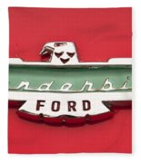 1956 Ford Thunderbird Emblem Fleece Blanket