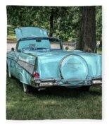 1957 Bel Air  Blue Convertible  Fleece Blanket