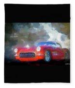 1957 Corvette Hot Rod Fleece Blanket