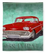 1958 Impala By Chevrolet Fleece Blanket
