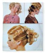 1960 70 Stylish Female Hair Styles Golden Blond Fleece Blanket