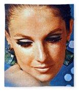 1960 70 Stylish Lady In Blue Fleece Blanket