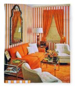 1960 70 Stylish Living Room Advertisement Orange And Stripes Groovy Baby Fleece Blanket
