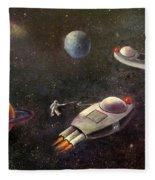 1960s Outer Space Adventure Fleece Blanket