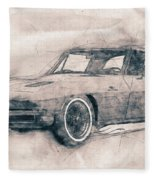 1963 Chevrolet Corvette Sting Ray - 1963 - Automotive Art - Car Posters Fleece Blanket