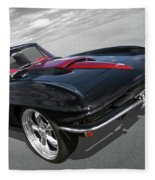 1963 Corvette Stingray Split Window In Black And Red Fleece Blanket