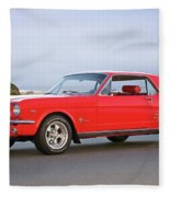1965 Ford Mustang 'red Coupe' I Fleece Blanket