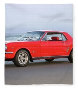 1965 Ford Mustang 'red Coupe' II Fleece Blanket
