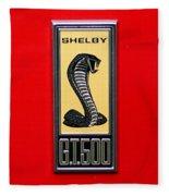 1967 Ford Shelby Gt 500 Cobra Fender Emblem On Red Fleece Blanket