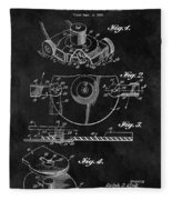 1967 Lawn Mower Patent Illustration Fleece Blanket