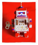 1970s Wind Up Dancing Robot Fleece Blanket