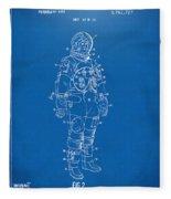1973 Astronaut Space Suit Patent Artwork - Blueprint Fleece Blanket