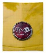 1976 Canary Yellow Vette Hood Emblem Fleece Blanket