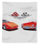 1986 And 1961 Corvettes Fleece Blanket