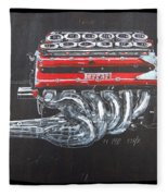 1990 Ferrari F1 Engine V12 Fleece Blanket