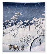 19th C. Snow On Asuka Hill Fleece Blanket