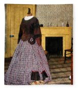 19th Century Plaid Dress Fleece Blanket