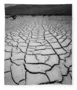 1a6832 Bw Mud Cracks In Death Valley Fleece Blanket