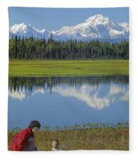 1m1326 Wife And Son In Denali National Park Fleece Blanket