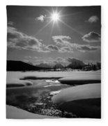 1m9203 Sunburst Over The Snake River, Tetons Fleece Blanket