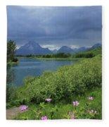 1m9236 Mt. Moran And Sticky Geranium Fleece Blanket