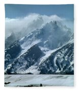 1m9314 Clouds Over The Tetons Fleece Blanket