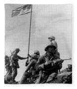 1st Flag Raising On Iwo Jima  Fleece Blanket