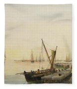 A Busy Harbour Fleece Blanket