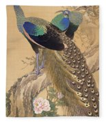 A Pair Of Peacocks In Spring Fleece Blanket