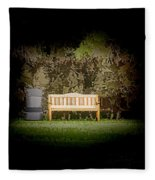 A Trash Can And Wooden Benches In A Small Grassy Area Fleece Blanket