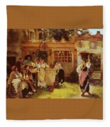 A Venetian Fan Seller Henry Woods Fleece Blanket