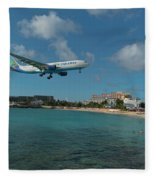 Air Caraibes Landing At St. Maarten Fleece Blanket